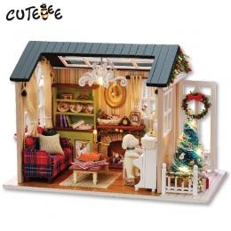 CUTEBEE Doll House Miniatura DIY Dollhouse W Meble Drewniane Zabawki Dom Dla Dzieci Dom Razy Z009