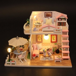 Boże narodzenie Prezenty Miniaturowe Diy Puzzle Zabawki Doll House Model Meble Drewniane Klocki Zabawki Prezenty Urodzinowe RÓŻO