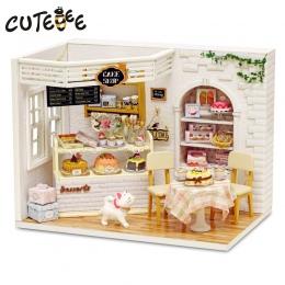 Doll House Meble Miniatura Diy Pył Pokrywa 3D Drewniane Miniaturas Domek Dla Lalek Zabawki dla Dzieci Prezenty Urodzinowe Ciasto