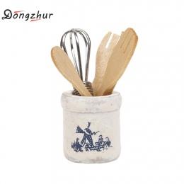 Dongzhur Drewniane Nóż I Widelec Metalowe Trzepaczka Jar Ustawić 1:12 Dollhouse Miniatures Akcesoria Domek dla Lalek Mini Akceso