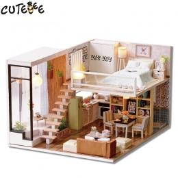 CUTEBEE Doll House Miniatura DIY Dollhouse W Meble Drewniany Dom Czas Oczekiwania Zabawki Dla Dzieci Prezent Urodzinowy L020