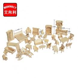 1 ZESTAW = 34 SZTUK, AIBOULLY Drewniany Dom dla Lalek Skala Miniaturowy Dollhouse Meble Jigsaw Puzzle Modele DIY Akcesoria Zesta