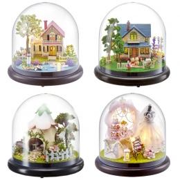 Śliczne Pokój Miniatura DIY Doll House Model Z 3D LED Meble Drewniany Domek Dla Lalek Handmade Prezenty Zabawki Dla Dzieci # E