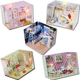 Kreatywny DIY Dollhouse Casa 3D Drewniany Dom dla Lalek Zabawki Model Miniatura W Meble Zabawki Dla dzieci Prezent Serii Q # E