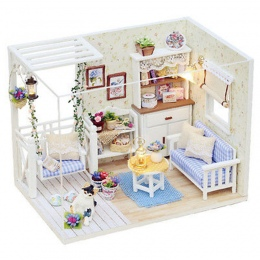 Nowy Dom dla Lalek Meble Zestawy DIY Drewna Meble Dollhouse miniaturowy z LED + + pokrywa Doll house pokój HB
