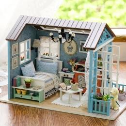 DIY Dollhouse Miniaturowy Model Drewniane Zabawki mini Meble Ręcznie robione lalki dom wykwintne dom dla lalek prezenty zabawki