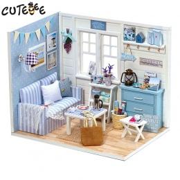 Doll House Meble Miniatura Diy Pył Pokrywa 3D Drewniane Miniaturas Domek Dla Lalek Zabawki na Boże Narodzenie-H016