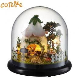 CUTEBEE Doll House Miniatura DIY Dollhouse W Meble Drewniany Dom Dla Dzieci Prezent Urodzinowy spragnieni Miłości Zabawki B015