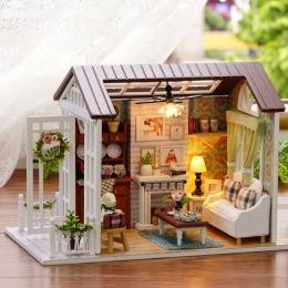 Casa De Boneca Dollhouse Diy 3D Modelu Budynku Zestawy Drewniane Meble Miniaturowy Domek dla Lalek Zabawki Prezenty Urodzinowe H