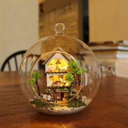 DIY Doll House Miniaturowy Domek Dla Lalek Z Meble Dom Dla Lalek Szklane Kulki Casa Model Prezent Na Boże Narodzenie Zabawki Dla