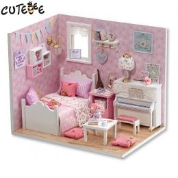 DIY Doll House Miniatura z Meble Kurz Pokrywa Drewniany Domek Dla Lalek Miniaturas Zabawki dla Dzieci Christmas Gift Nowy H15