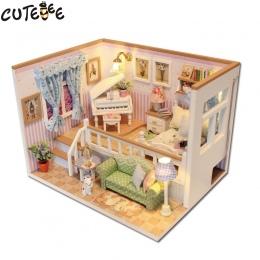 CUTEBEE Doll House Miniatura DIY Dollhouse W Meble Drewniany Dom Gwiazdy Niebo Zabawki Dla Dzieci Prezent Urodzinowy M026