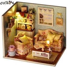 CUTEBEE Doll House Miniatura DIY Dollhouse W Meble Drewniany Dom Zabawki Dla Dzieci Prezent Urodzinowy H07