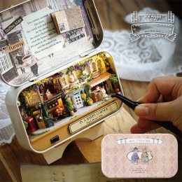 3D Miniaturowe Lalki Dom Realistyczne 1:12 DIY Drewna Domów Lalek Montażu Box Dollhouse Meble Zestawy Zabawki dla Dziewczyny Pre