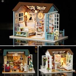 DIY Miniaturowy Domek Dla Lalek Z Meble LED 3D Drewniany Model Doll House Zabawki Handmade Rzemiosło Prezent urodzinowy Dla Dzie