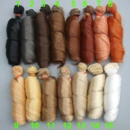 1 sztuk Rozszerzenie peruki lalek 15*100 cm Naturalny Kolor Kręcone lalka Rosyjski włosów dla BJD SD handmade odzież lalki peruk