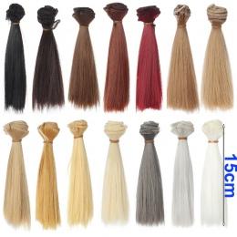 1 sztuk refires bjd włosów włosy 15 cm * 100 CM czarne złoto brązowy khaki biały szary kolor krótki prosty wig włosów dla 1/3 1/