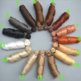 Darmowa wysyłka 15 cm kręcone peruki lalek brązowy khaki czarny wysokiej temperatura żaroodporne włosów 1/3 1/4 1/6 BJD lalki di