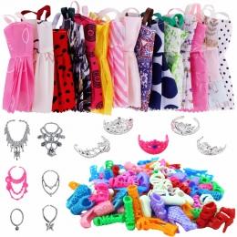 35 sztuk = 12x Moda Mini Suknia + 12x Pair Buty + 6x Plastikowe Naszyjniki + 5x Korony Ubrania Dla barbie Doll Najlepszy Prezent