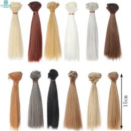 1 sztuk 15 cm * 100 CM czarne złoto brązowy prosto włosów Akcesoria dla lalek 1/3 1/4 BJD lalki peruki