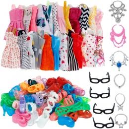 Lot 30 sztuk/zestaw Akcesoria = 10x Mix Moda Sukienka Śliczna + 10x Buty + 6x Naszyjniki + 4x Okulary Ubrania dla Lalka Barbie Z