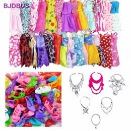 Losowo 30 sztuk/partia = 12x Mieszane Style Mini Sukienki + 12x Buty + 6x Naszyjniki Ubrania Dla Lalka Barbie Akcesoria prezenty