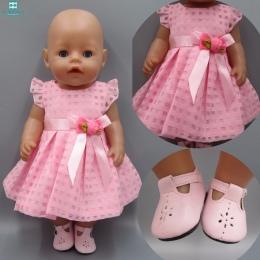Ubrania dla lalek pasuje 43-45 cm American girl Baby Born zapf lalki Różowy Sukienka Kapelusz Siamese Ubrania