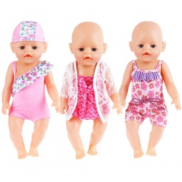 "43 cm Lalki Baby Born Ubrania Lato Zestaw Do 18 ""American Girl Doll Bikini + Cap Pływanie Garnitur Z kapelusz Lalki Akcesoria"