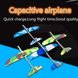 Samoloty Kondensator Electric Hand Uruchomienie Rzucanie Szybowca Samolotu Inercyjne Pianki EVA Zabawki Samolot Model Odkryty Za