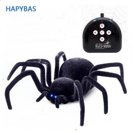 Elektroniczne zwierzątko Pilot Symulacji tarantula Oczy Połysk inteligentny czarny Pająk 4Ch Halloween RC Tricky Prank Straszny