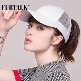 FURTALK 2018 Kucyk Baseball Czapka Snapback Czapka Z Daszkiem Kobiety Messy Bun