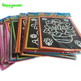Happyxuan 20 sztuk/partia 13*9.5 cm dwa-w-jednym Magia Kolorów Scratch Sztuka Papieru Kolorowanki Karty Skrobanie rysunek Zabawk