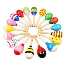 1 sztuk Kolorowe Drewniane Marakasy Baby Shaker Grzechotka Instrument muzyczny Dla Dzieci Party Prezent Zabawki Dla Dzieci