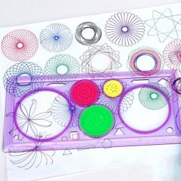 Malowanie wielofunkcyjny Puzzle Spirograph Redakcyjnych Geometryczna Władca Narzędzia Dla Studentów Rysunek Zabawki Dla Dzieci N