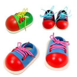1 Sztuk Losowo Montessori Edukacyjne Dla Dzieci Zabawki Drewniane Zabawki Dla Dzieci Maluch Sznurowania Buty Pomoce Dydaktyczne