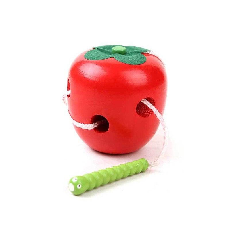 Gąsienica Zjada Apple Montessori Drewniane Zabawki Dla