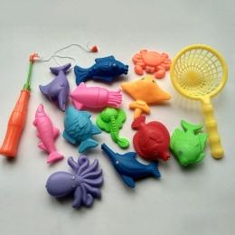 Dzieci 14 sztuk/zestaw Połowów Magnetyczne rodzic-dziecko Zabawki interaktywne Gry Dla Dzieci 1 pręt 1 netto 12 3D Fish Zabawki