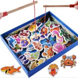 Zabawki Edukacyjne dla dzieci 32 Sztuk Zestaw Ryb Gry Edukacyjne Drewniane zabawki Magnetyczne Zabawki Rybackich Połowów Ryb Zab