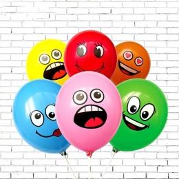10 Sztuk/partia Śliczne Wydrukowano Wielkie Oczy Uśmiech Nadmuchiwane Zabawki Z Okazji Urodzin Strona Dekoracji Nadmuchiwane Air