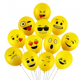 CCINEE 10 Sztuk 12 calowy Balons Balons Emotikon Smiley Face Wyraz Żółty Lateksowe Wesele Balons Cartoon Nadmuchiwane Piłki