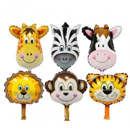 6 Sztuk Mini Tygrys Lew Zebra Jelenie Głowy Zwierząt Balon Foliowy Świnia Krowa Głowę Słonia Balony Urodziny Prezenty Dla Dzieci