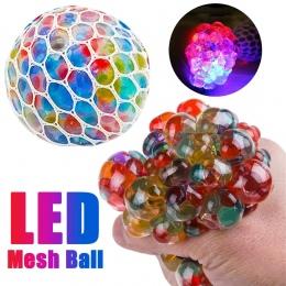 Dzieci śmieszne zabawki Nowy Anty Stres Mesh Ball Stres LED Świecące Wycisnąć Winogron Zabawki Lęku Ulgi Stres Piłka