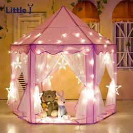 Little J Dziewczyna Księżniczka Różowy Zamek Namioty Przenośne Dzieci Na Zewnątrz Ogród Składany Namiot Zabaw Lodge Dzieci Kulki