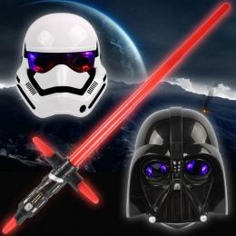 Nowy 1 SZTUK Star Wars miecz maska LED światła lampy teleskopowa Cosplay miecz broń działania wykres luminescencji miecze zabawk