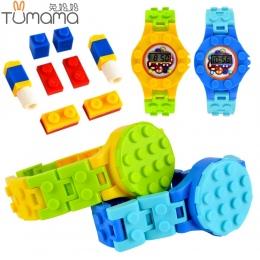 Tumama Cyfrowy Zegarek Bloki płyta Fundamentowa Kompatybilny Legoed Minecrafted Mini Cegły Baza DIY Edukacyjne Zabawki Figurki Z
