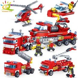348 sztuk Gaszenia Pożaru samochodu Helikopter boat Building Blocks Kompatybilny legoed miasta Strażak figury ciężarówki Cegły Z