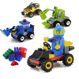 Mini City Budowa Modelu Building Blocks Zabawki Samochodów Inżynier Żołnierz Ciężarówka Zabawki Edukacyjne dla Dzieci Przedszkol