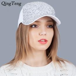 Biały Moda Damska Rhinestone Kapelusze Luksusowe Kobiet Czapka Z Daszkiem Bling Diamentowa Cap Swag Casquette Dziewczyna Odzyska