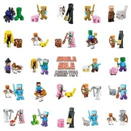 Pojedyncze Sprzedaż HOT Minecrafted Action Figures Zabawki Diament Armor Steve Alex Czarownica Zombie Szkielet Kompatybilny Lego
