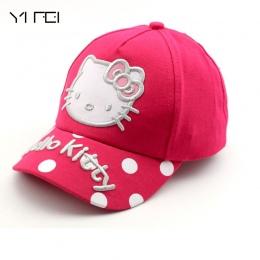 100% bawełna Kreskówki Hello Kitty Dzieci Czapki Sportowe Czapki Z Daszkiem Słońce Snapback Kapelusze Unisex Chłopcy Dziewczęta